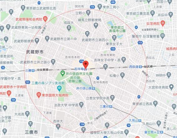 吉祥寺駅を中心とした半径1.5kmの円