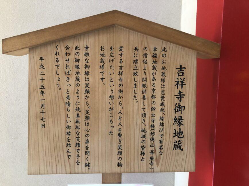 吉祥寺御縁地蔵の説明パネル